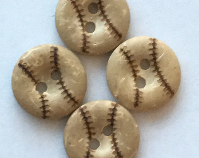 15mm BaseBall Buttons with 2-Hole, Coconut Buttons,  DIY Craft Supplies Findings.
