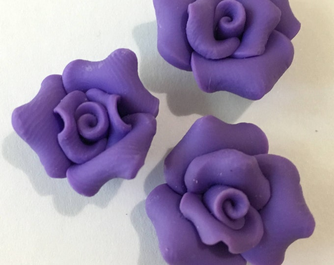 Handmade Polymer Clay Beads, Romantic Rose Beads for Jewelry, Flower, Blue Violet, Size 20mm, DIY Jewelry Making Findings 6pcs
