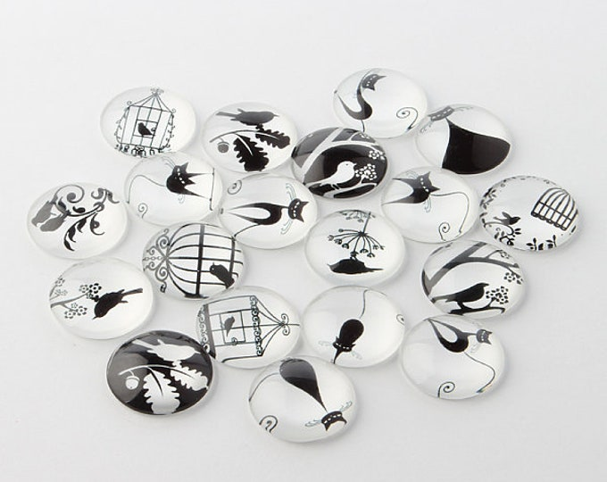 25mm Printed Half Glass Cabochons, Retro Black and White   DIY Jewelry Findings.