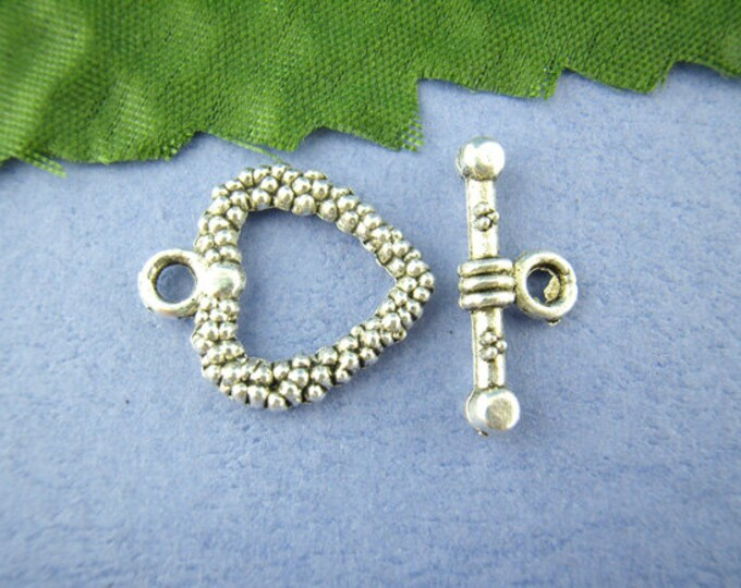 16mm Toggle Clasp Heart Antique Silver  DIY Jewelry Making Supplies Findings.