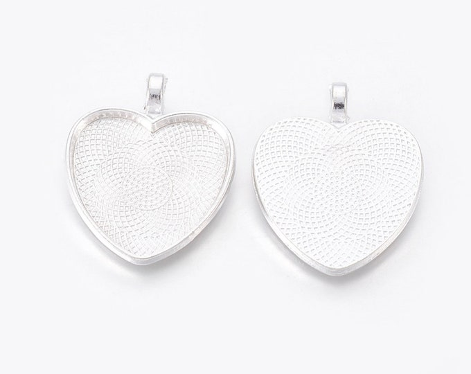 25mm Heart Cabochons Pendant Silver Tray Setting  Bezel Trays, 1 Inch Trays DIY Jewelry Findings.