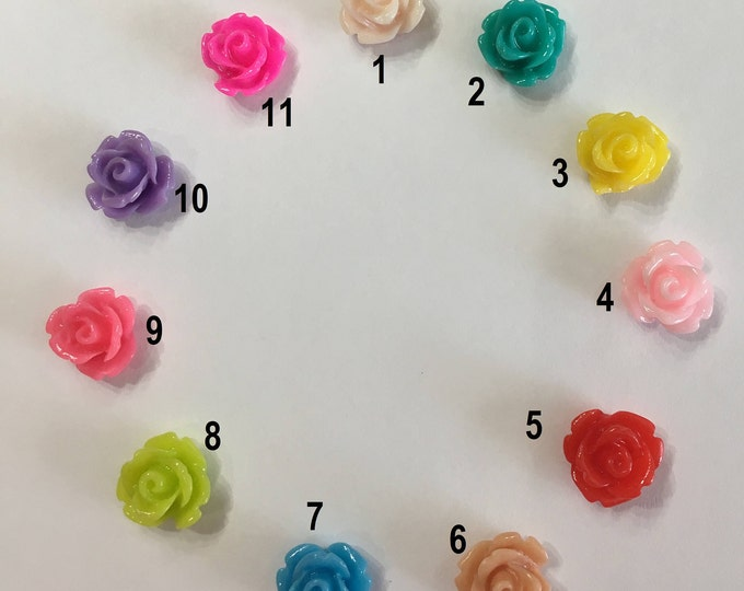 10mm Resin Flower Cabochon Mixed Color Rose Flower DIY Jewelry Findings.