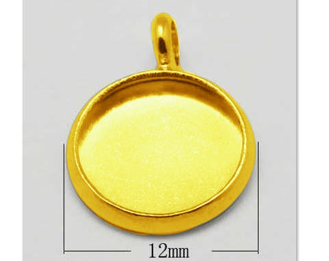 10mm Cabochon Setting Golden Color Pendant Bezel Tray DIY Jewelry Findings.
