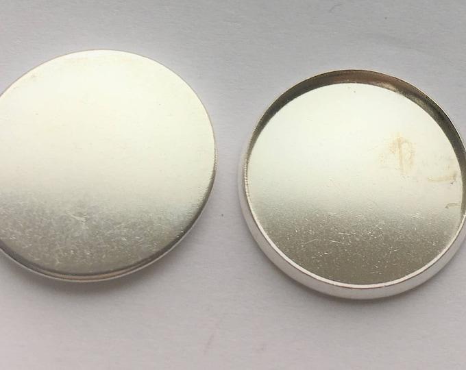 18mm Silver CabochonSetting Flat Pendant Tray  Bezel Tray DIY Jewelry Making Findings 100 pcs.