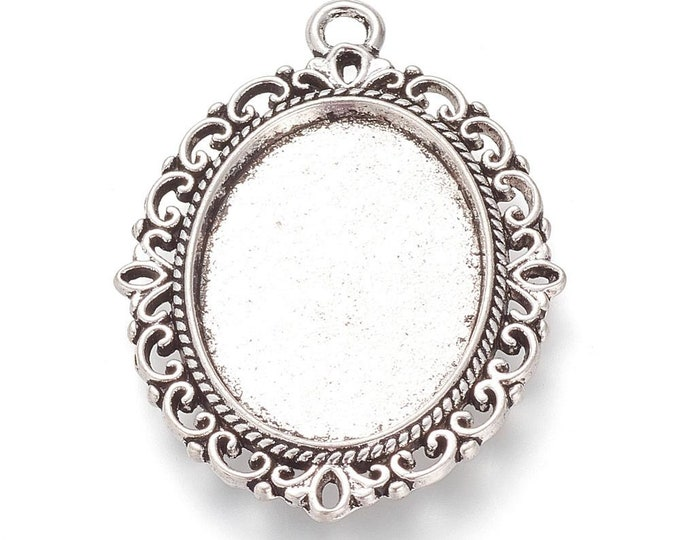 18x25mm Cabochon Setting Pendant Antique Silver Bezel Inner Tray DIY Findings for Jewelry Making.
