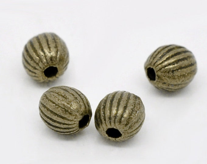 6mm Spacer beads Corrugated Antique Bronze DIY Jewelry Making Supplies  Findings.