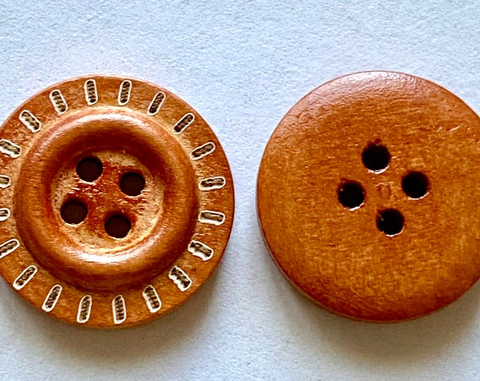 20mm Buttons Flat Round wooden 4-Hole Saddle Brown Color DIY Craft Supplies Findings.