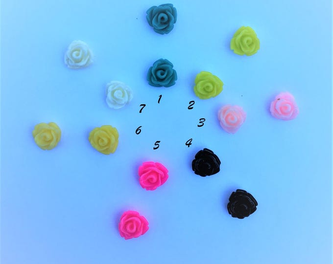 7.5x6mm Resin Flower Cabochon, Mixed Color Rose Flower DIY Jewelry Findings