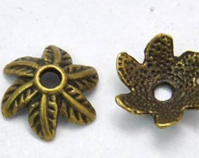 11mm Beadcaps Flower Antique bronze DIY Jewelry Making Findings.