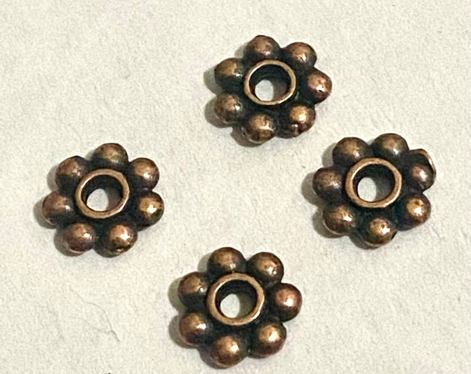 6mm Spacer Flower Beads Antique Copper DIY Jewelry Making Supplies  Findings.