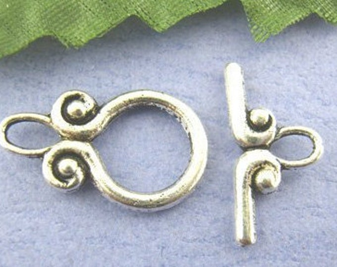 12x20mm Clasps Toggles Antique Silver Jewelry Making Supplie  Findings.