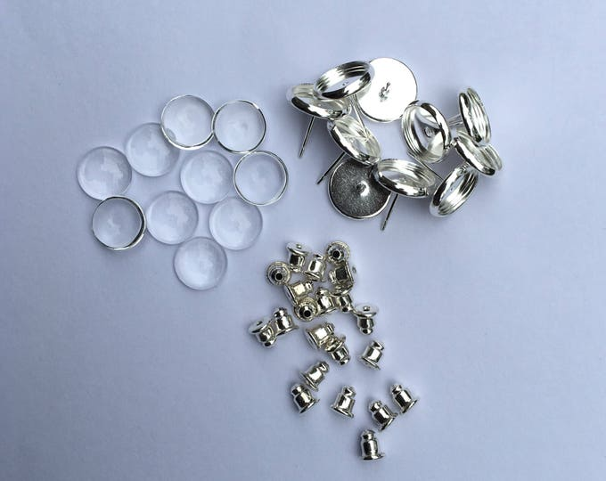 10mm Earring Posts Ear Studs with Ear backs Silver color and matching round glass cabochons 100 Sets.