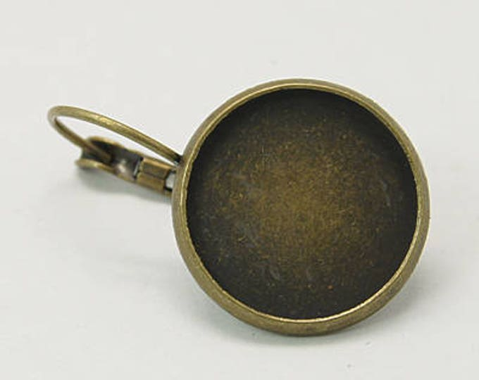 16mm French Earring Antique Bronze Round Component, Inner Tray  Earring  Earwire DIY Jewelry Supplies 10 Pcs
