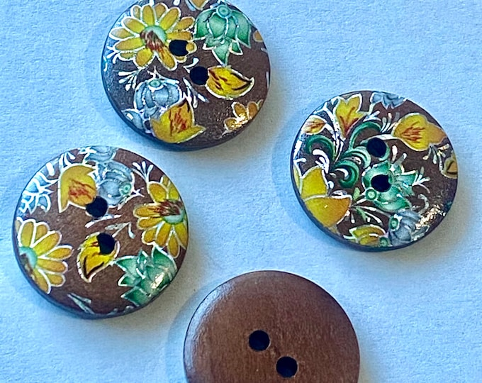 20mm Buttons Flat Round Printed  wooden Buttons 2-Hole Chocolate Color DIY Craft Supplies Findings.