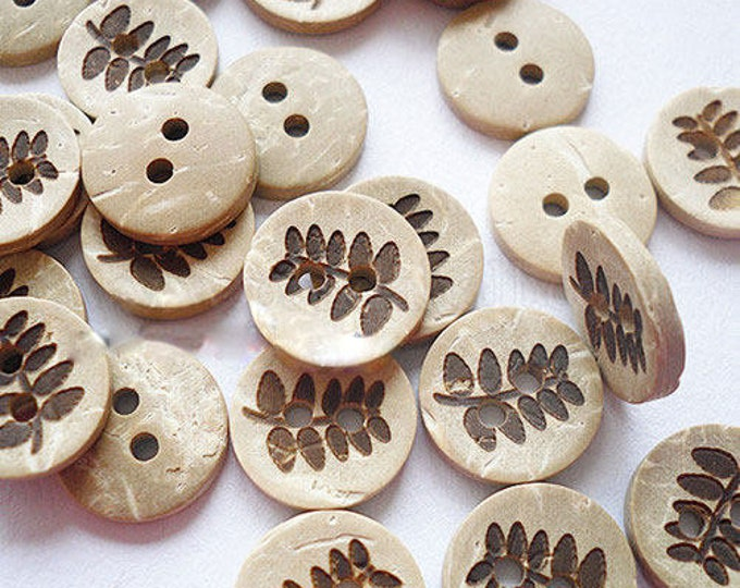 13mm Coconut buttons 2 holes DIY Craft Supplies Findings.