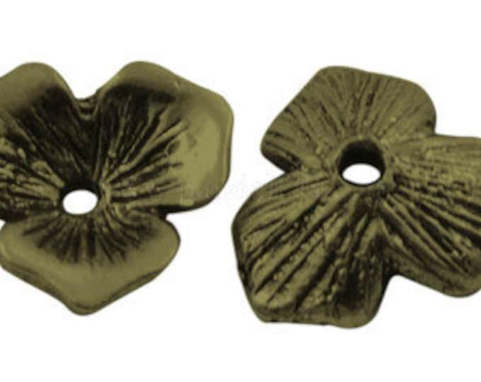 11mm Bead Caps Flower Antique Bronze DIY Jewelry Making Findings.