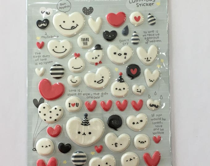 Balloon Heart Craft Sticker Sheet for Planning, Journaling, Collecting or Scrap booking 1 sheet