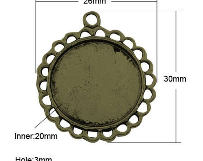 20mm Cabochons Pendant Antique Bronze Tray Setting  Bezel Trays DIY Jewelry Findings 40pcs.