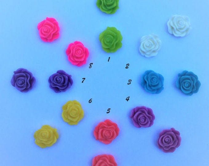 13mm Resin Flower Cabochon Mixed Color RoseFlower, DIY Jewelry Making Findings 50Pcs.