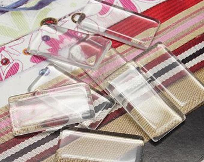 48x24mm Transparent Glass  Rectangle Clear Cabochons 7mm thick Bezel Domes DIY Jewelry Pendant Bracelet Necklaces.