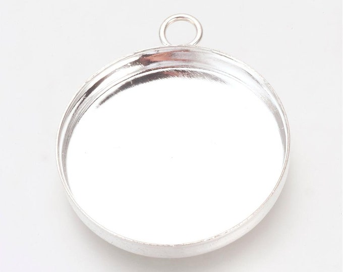 25mm Cabochons Settings Silver Pendant Bezel Tray DIY Jewelry Findings.