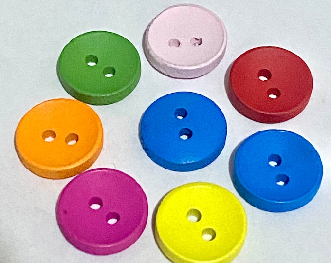 13mm Buttons with 2-Hole Mixed Color Wooden Buttons  DIY Craft Supplies Findings.