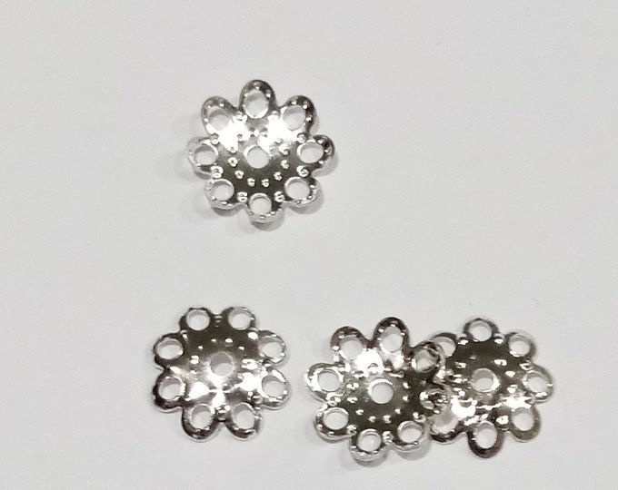 Bead Caps 10mm Flower hole: 1mm silver DIY Jewelry Making Findings.