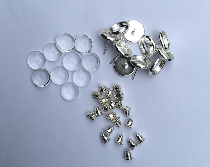 8mm Earring Sets Silver Posts Earring Ear Studs with Ear backs and matching round glass cabochons, 100 Sets