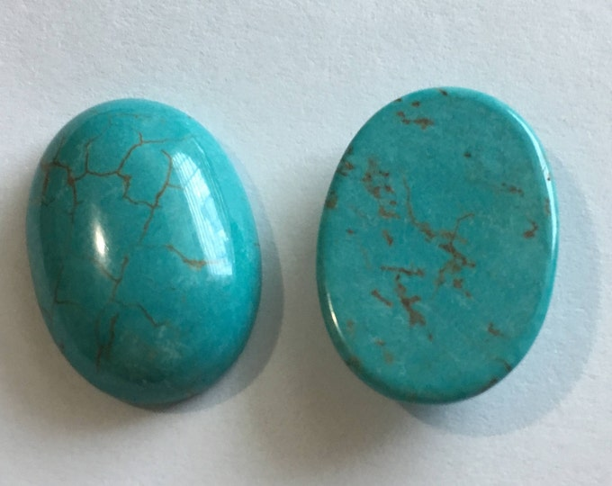25x18mm Turquoise Gemstone Cabochon Oval, DIY Jewelry Making Findings.