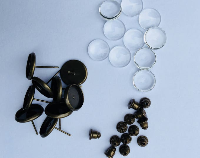 Bronze Earring 8mm Sets Posts Earring Ear Studs with Ear backs and matching round glass cabochons 20 50 100 sets