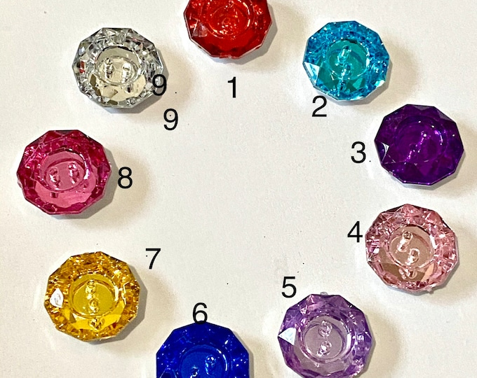 18x6mm Rhinestone Buttons 2-Hole Faceted Flat Round Mixed Color Hole 1mm  DIY Craft Supplies Findings.