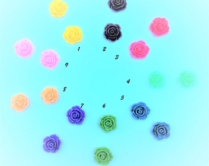 19x7mm Resin Flower Cabochon Mixed Color Rose Flowers DIY Jewelry Findings.