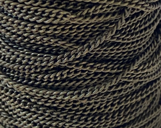 2x1.5mm Twisted Curb Chains 1mm thick Antique Bronze Color Plated DIY Jewelry Making Findings.