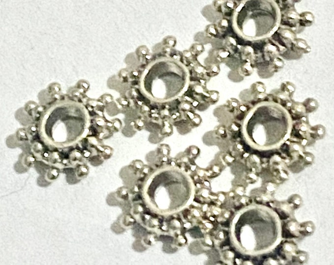 9mm Spacers Snowflake beads Antique Silver DIY Jewelry Making Supplies  Findings.