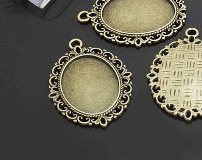 18x25mm pendant Oval Cabochon Setting Bronze Pendant Bezel Inner Tray DIY Findings for Jewelry Making.