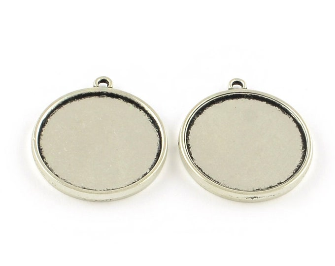 25mm Double-sided Cabochon Setting Antique Silver Pendant Bezel Tray DIY Findings for Jewelry Making.