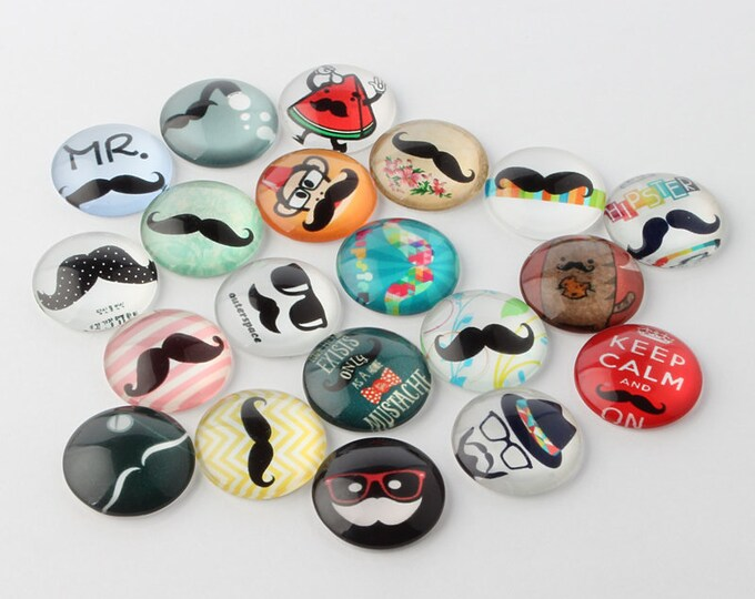 10mm Mustache Cabochon Printed Half Round Dome Glass Cabochons, Mixed Color, 10x4mm DIY Jewelry Findings