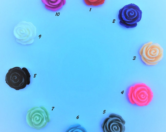 23MM Resin Flower Cabochon Mixed Color Rose Flower DIY Jewelry Findings.