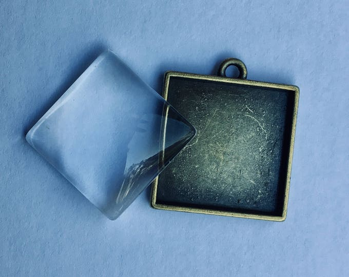 Bronze Square 25x25mm pendant Cabochon Bezel Tray with Matching glass cabochon Inner Tray DIY Findings for Jewelry Making 4 Sets
