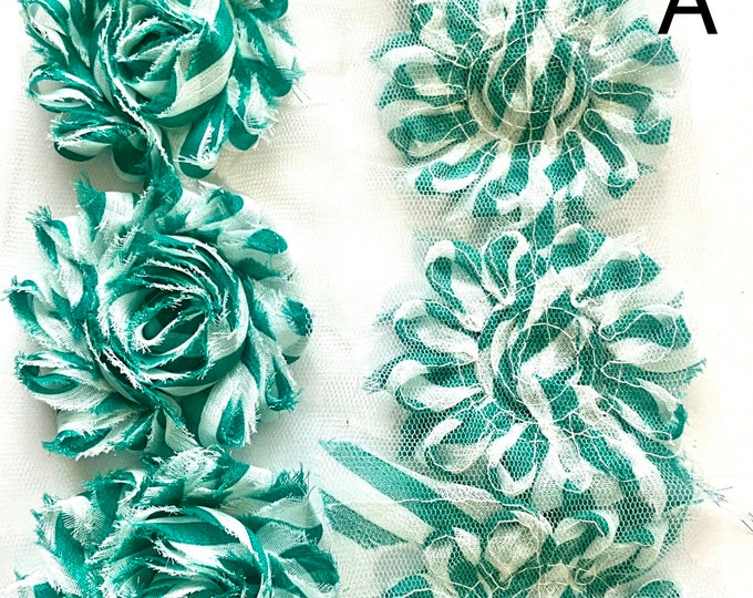 """2.5"""" Rose Chiffon lace flower Shabby Chic Frayed flower trim Mixed Color Stripes DIY Jewelry Making Findings."""