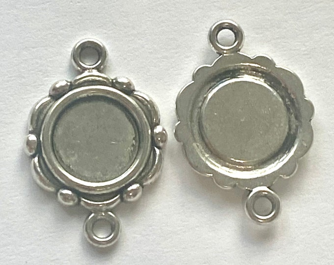 10mm Connectors Antique Silver Round Cabochon Setting  connector Inner Tray double sided Bezel Tray DIY Jewelry Findings.