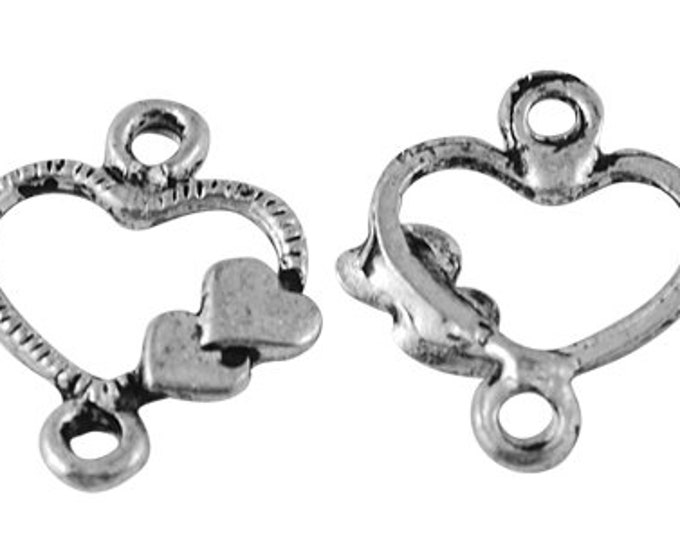 13mm Heart Connectors Antique silver DIY Jewelry Findings.
