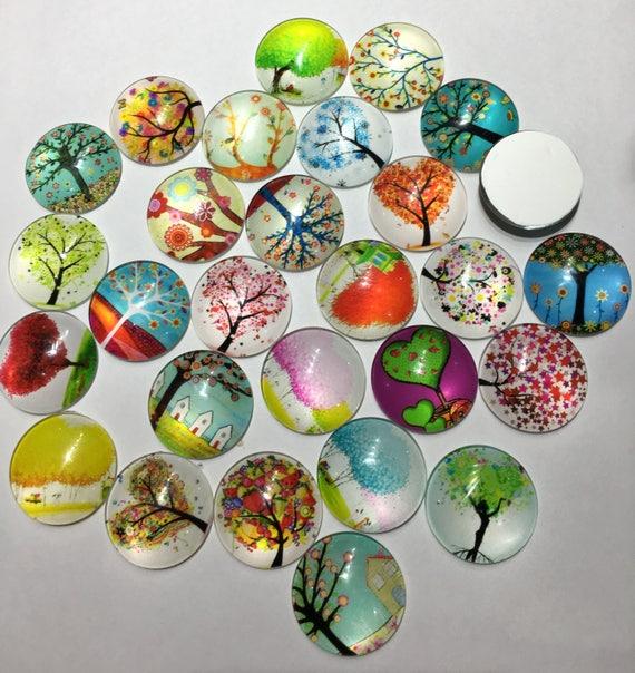 10 pcs Dried Flower Half Round Dome Handmade Glass Flat Back Cabochons 25x7mm