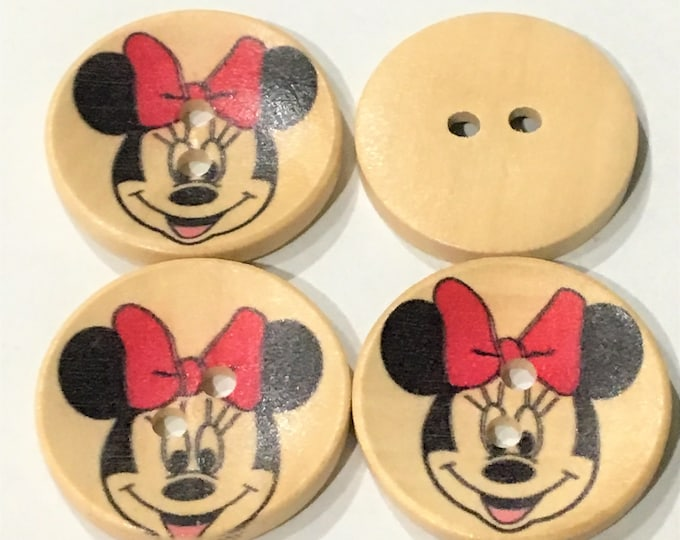 30mm Buttons Micky Wooden Micky Painted 2 Hole Buttons DIY Craft Supplies Findings.