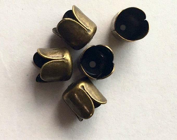 6mm Beadcaps Tube Flower Antique Bronze DIY Jewelry Making Findings.