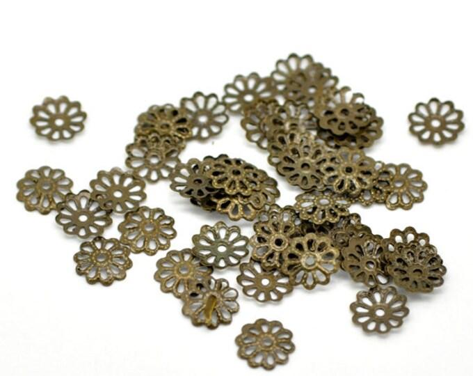 10mm Beadcaps Antique Bronze DIY Jewelry Making Findings.