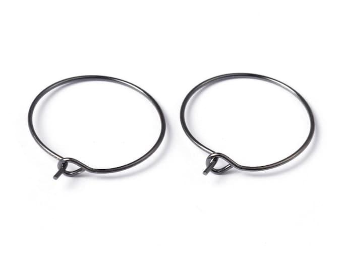 20mm Earrings Hoops Black Gunmetal DIY Jewelry Making Findings.
