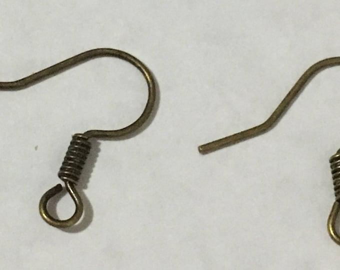15mm Earring Hooks, Antique Bronze DIY Jewelry Making Findings.
