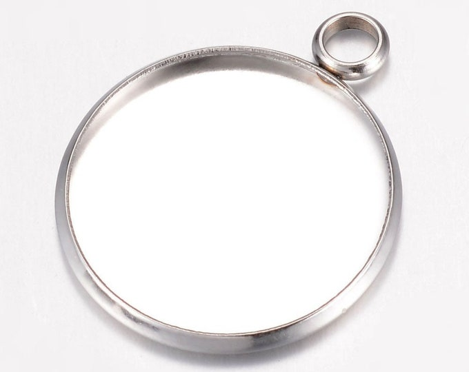 20mm Cabochons Pendant Antique Silver Tray Setting  Bezel Trays, DIY Jewelry Findings.