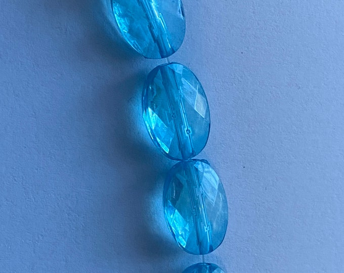 14x10mmTransparent Acrylic Beads, Faceted, Oval Cyan DIY Jewelry Making Supplies and Findings.